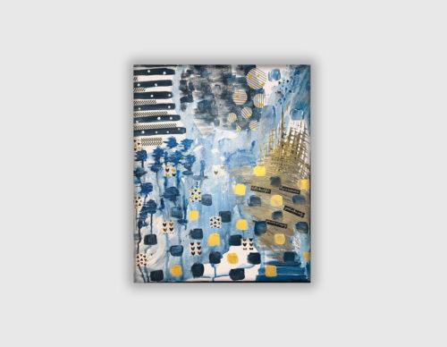 Tableau abstrait bleu et doré