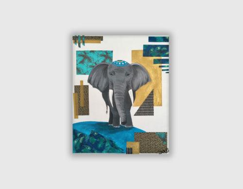 Tableau éléphant bleu et doré