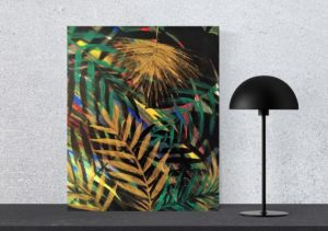 J U N G L E   E X O T I Q U E : format 45x56cm, peinture acrylique sur toile. Finition glossy. Disponible à la vente : 75€