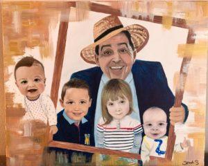 Portrait couleur à partir de photos, peinture acrylique sur toile.