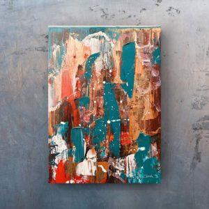 M E X I Q U E : Peinture acrylique abstrait sur toile, format 30x40cm. Technique au couteau, pailleté doré. Disponible à la vente. Prix : 48€